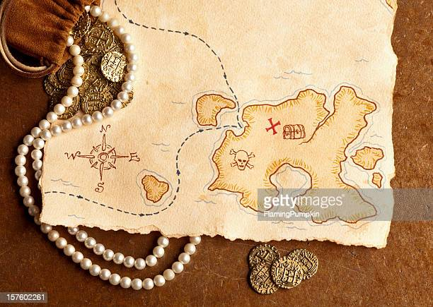 Pirate Treasure Map. Full Frame, Horizontal.