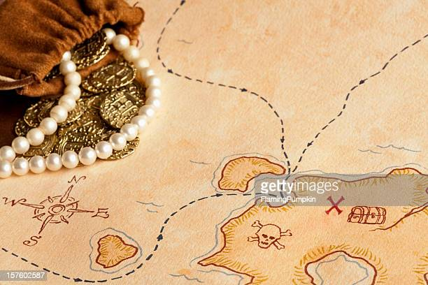 Pirate Treasure Map. Selective Focus, Full Frame.