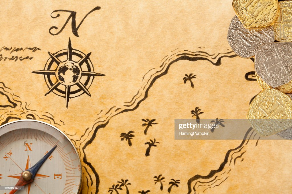 Pirate Treasure Map With Doubloons Stock Photo - Getty Images