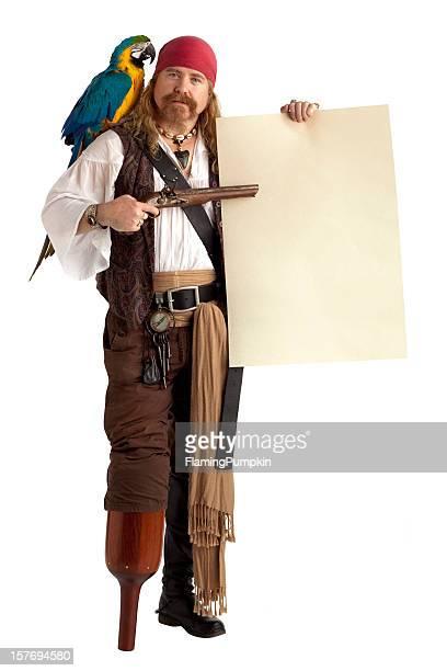 Pirate mit einer Botschaft, die isoliert auf weiss.