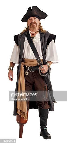 Pirate mit einem hölzernen Pegleg. Isoliert auf weiß.