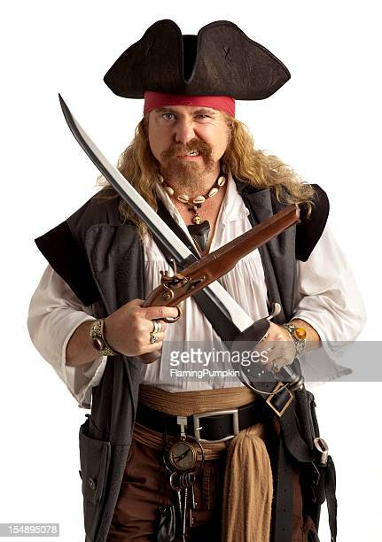 Pirate with Pistol and Sword, Close-up. White Background.