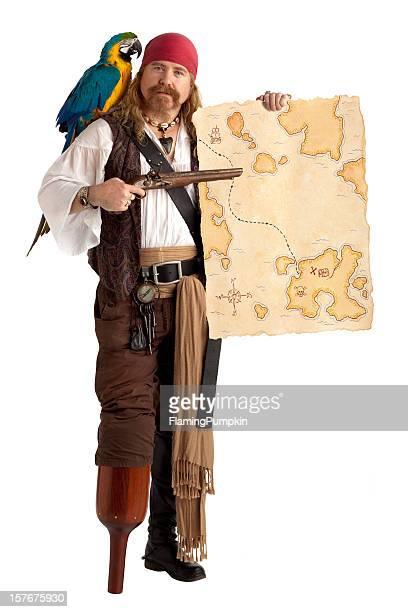 Pirate mit Schatzkarte, isoliert auf weiß.