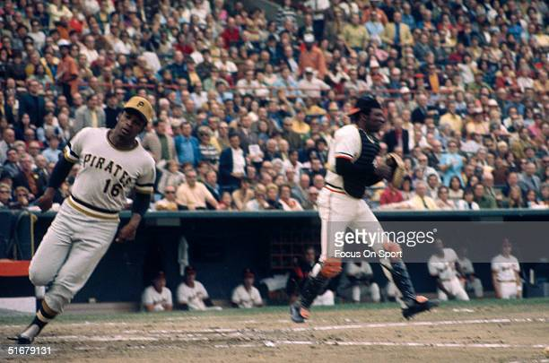 Pirates' Al Oliver scores against the Orioles during the 1971 World Series at Memorial Stadium in Baltimore Maryland