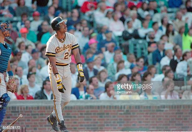Pirates' Barry Bonds stands at home plate and watches his 32nd homer sail into the stands in 8th inning 9/20 Bonds now has hit more homers than any...