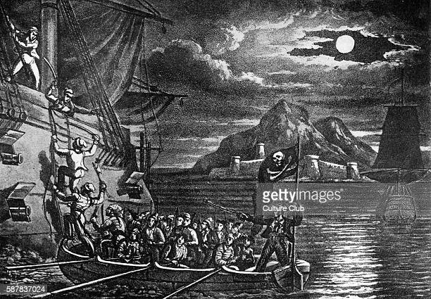 Pirates Boarding a Spanish Vessel in the West Indies engraving from The History and Lives of the most Notorious Pirates by an old Seaman nd