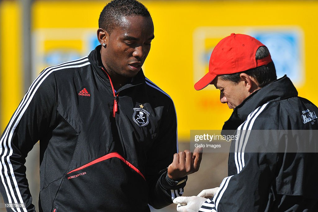 Pirates' new signing Benni McCarthy does a blood test during the