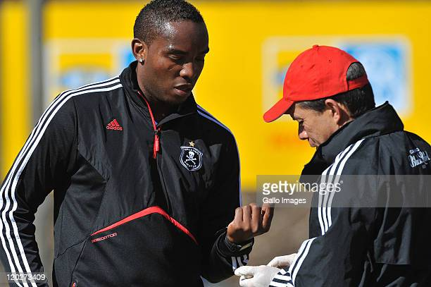 Pirates' new signing Benni McCarthy does a blood test during the Orlando Pirates media open day at the Johannesburg Stadium on August 03, 2011 in...