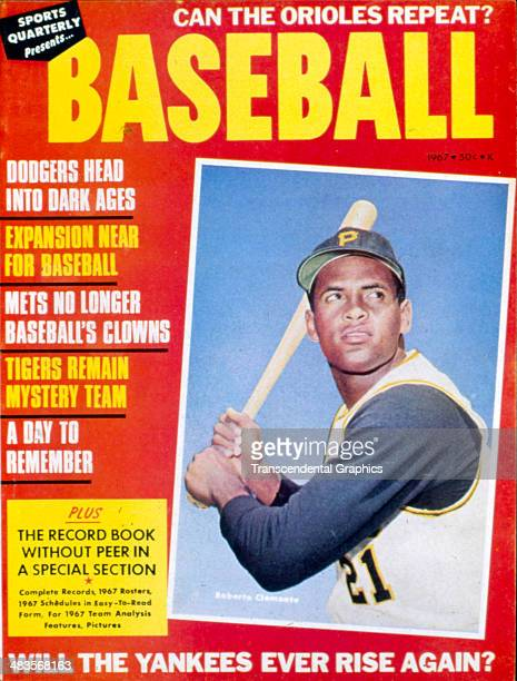 Pirates outfielder Roberto Clemente appears on the cover of Sports Quarterly magazine for 1967 published in New York City