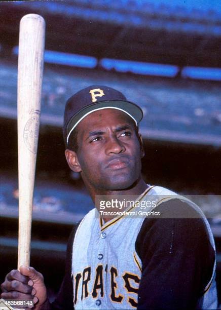 Pirates outfielder Roberto Clemente poses before a game in 1970 at Three Rivers Stadium in Pittsburgh Pennsylvania