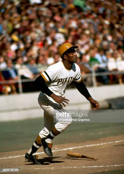 Pirates outfielder Roberto Clemente takes off for first in a game at Three Rivers Stadium in Pittsburgh Pennsylvania