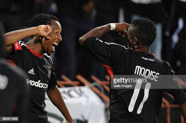 Pirates players Katlego Mashego and Teko Modise celebrates Mashego's goals during the Absa Premiership match between Orlando Pirates and Kaizer...