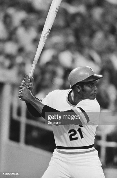 Pirates' Roberto Clemente closeup at bat in game against Montreal Expos