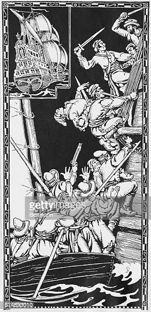 Pirates trying to board a Spanish galleon Pen and ink drawing