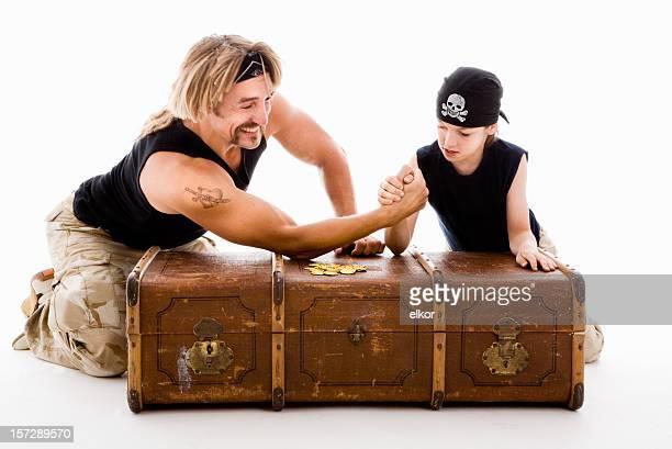 Pirates wresltling arms.