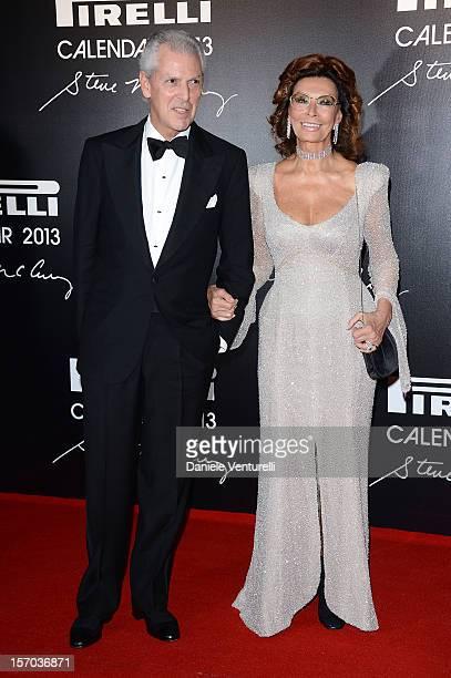 Pirelli C President Marco Tronchetti Provera and Sophia Loren attend the '2013 Pirelli Calendar Unveiling' on November 27 2012 in Rio de Janeiro...