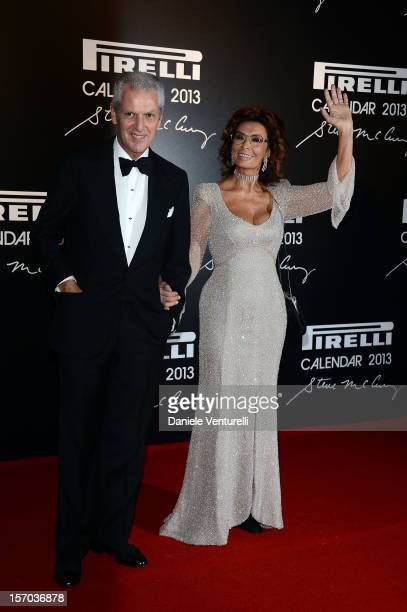 Pirelli C President Marco Tronchetti Provera and Sophia Loren attend the '2013 Pirelli Calendar Unveiling' on November 27 2012 in Rio de Janeiro...