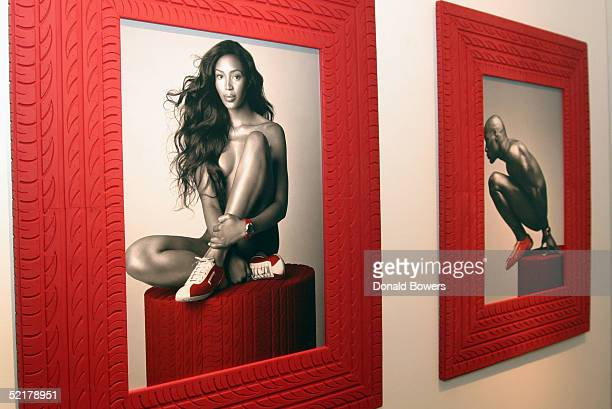 Pirelli calendar photographs are displayed at the Tony Shafrazi Gallery during the celebration of the 2005 Pirelli Calendar February 10 2005 in New...