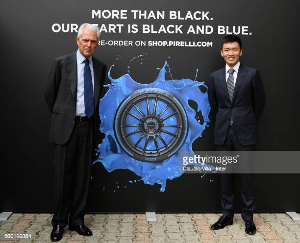 Pirelli Marco Tronchetti Provera and FC Internazionale Milano board member Steven Zhang Kangyang pose for a photo at Suning Training Center at...