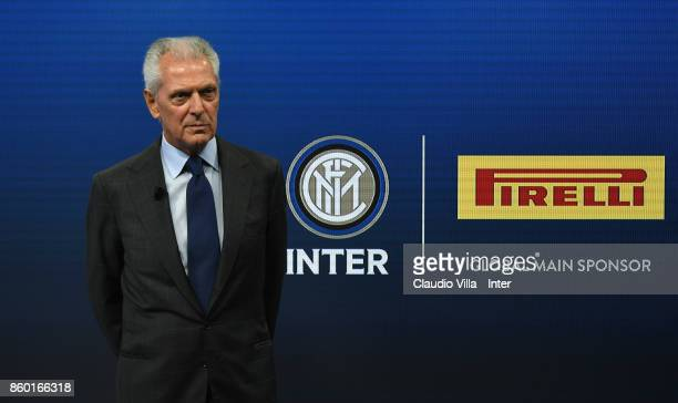Pirelli Marco Tronchetti Provera gives an interview at Suning Training Center at Appiano Gentile on October 11 2017 in Como Italy
