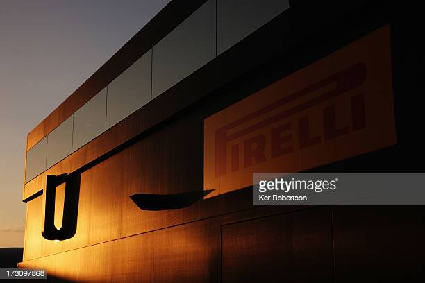 Pirelli transporter is seen in the paddock following qualifying for the German Grand Prix at the Nuerburgring on July 6 2013 in Nuerburg Germany