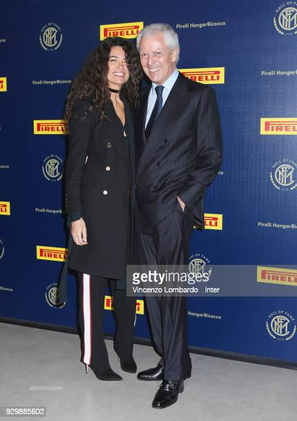Pirelli Tyre SpA chief executive Marco Tronchetti Provera and Afef Jnifen attend the 110th FC Internazionale Anniversary Ceremony Award at Hangar...