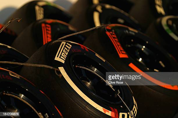 Pirelli tyres are laid out in the paddock following qualifying for the Japanese Formula One Grand Prix at Suzuka Circuit on October 12 2013 in Suzuka...