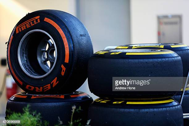 Pirelli tyres are seen during day two of Formula One Winter Testing at the Bahrain International Circuit on February 20 2014 in Bahrain Bahrain