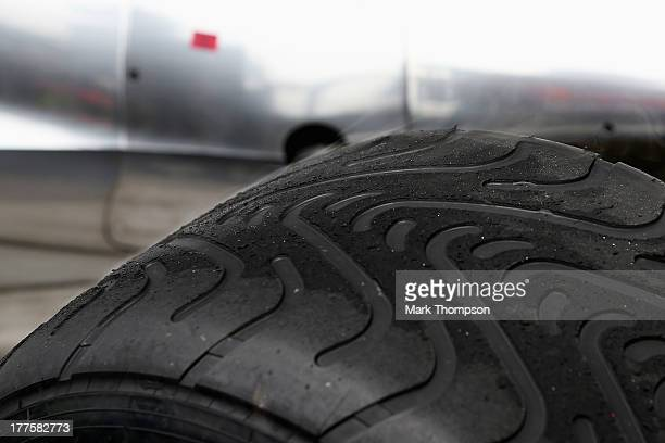 Pirelli tyres are seen during qualifying for the Belgian Grand Prix at Circuit de SpaFrancorchamps on August 24 2013 in Spa Belgium