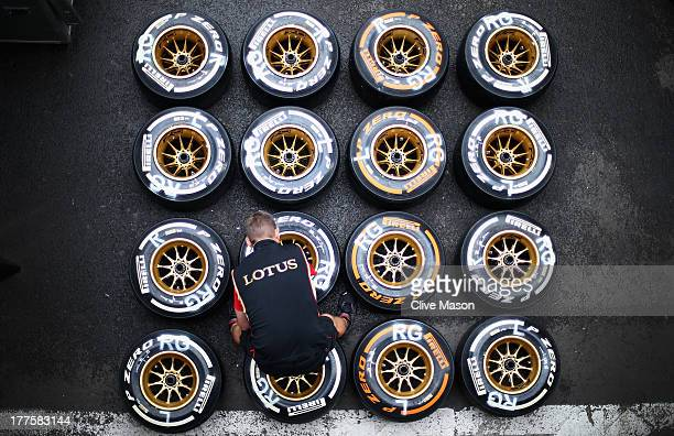 Pirelli tyres are seen following qualifying for the Belgian Grand Prix at Circuit de SpaFrancorchamps on August 24 2013 in Spa Belgium