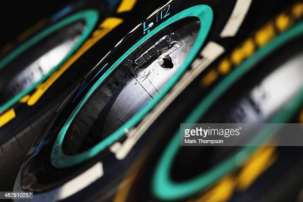 Pirelli tyres are seen in the pitlane during qualifying for the Bahrain Formula One Grand Prix at the Bahrain International Circuit on April 5 2014...