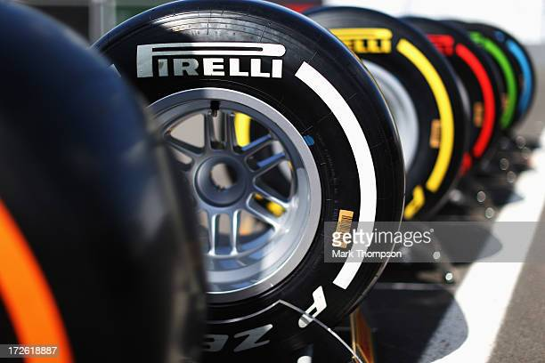 Pirelli tyres are seen on display in the paddock during previews to the German Grand Prix at the Nuerburgring on July 4 2013 in Nuerburg Germany