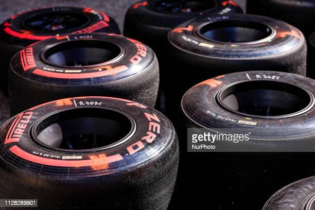 Pirelli tyres during the Formula 1 2019 PreSeason Tests at Circuit de Barcelona Catalunya in Montmelo Spain on March 1