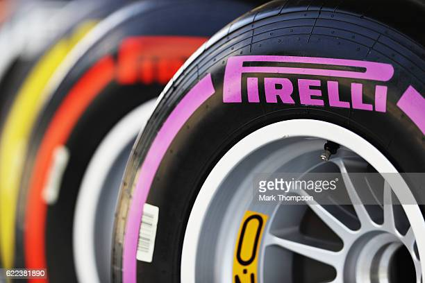 Pirelli tyres lined up in the Paddock during practice for the Formula One Grand Prix of Brazil at Autodromo Jose Carlos Pace on November 11 2016 in...