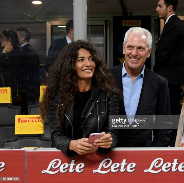 Pirelli Vice Chairmain and CEO Marco Tronchetti Provera and Afef Jnifen attend during the Serie A match between FC Internazionale and AC Milan at...