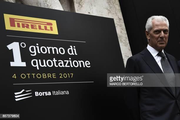 Pirelli's Executive Vice Chairman Marco Tronchetti Provera poses during a ceremony to mark the comeback of Italian tire maker Pirelli at Milan's...