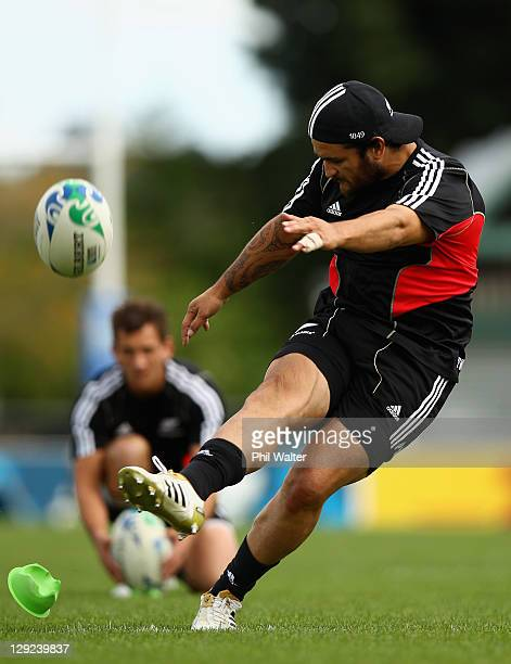 Piri Weepu of the All Blacks kicks during a New Zealand All Blacks IRB Rugby World Cup 2011 captain's run at Trusts Stadium on October 15, 2011 in...