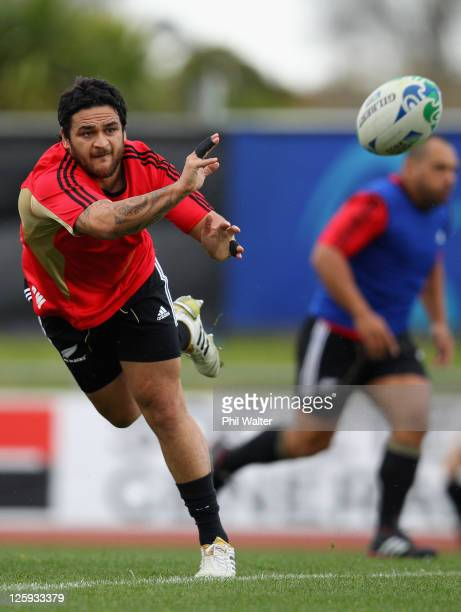 Piri Weepu of the All Blacks passes the ball during a New Zealand All Blacks IRB Rugby World Cup 2011 training session at Trusts Stadium on September...