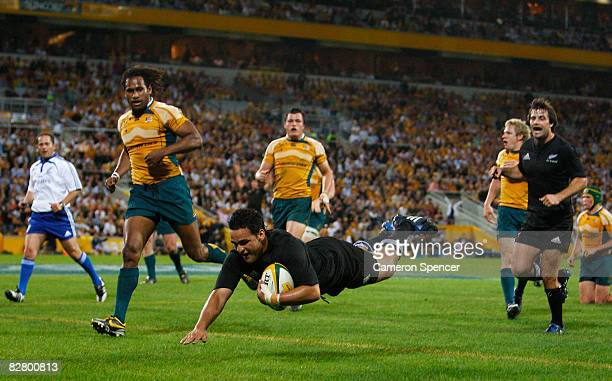 Piri Weepu of the All Blacks scores a try during the 2008 Tri Nations series Bledisloe Cup match between the Australian Wallabies and the New Zealand...