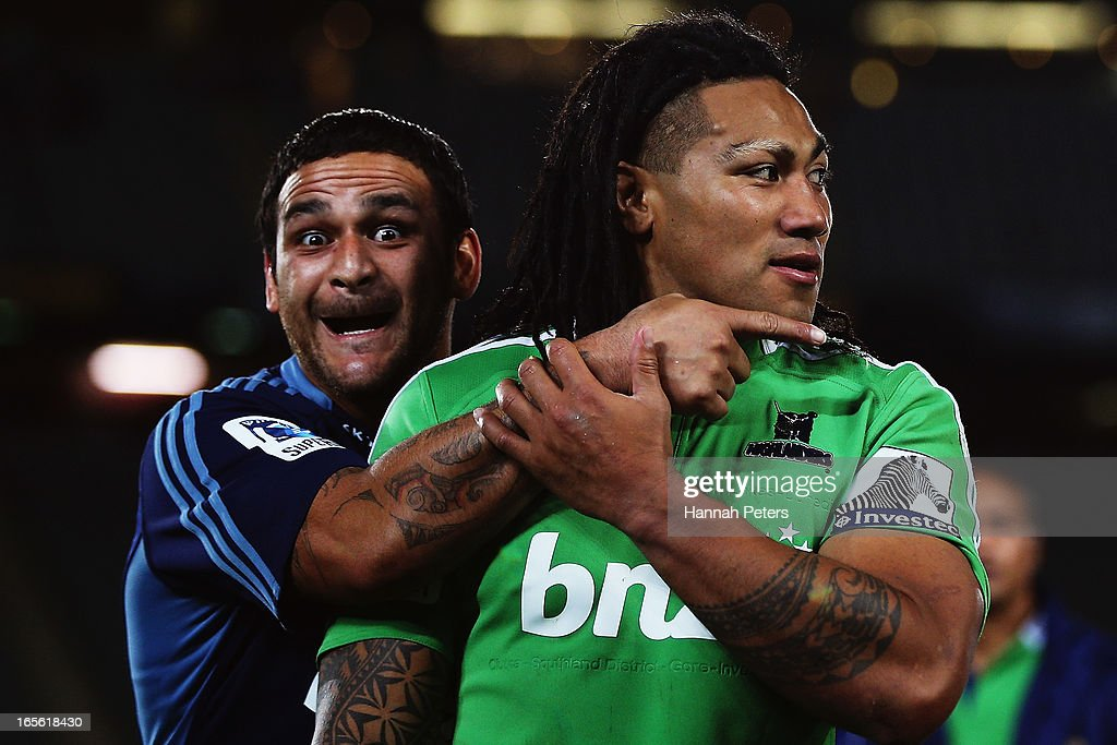 Piri Weepu of the Blues and Ma'a Nonu of the Highlanders walk off following the round eight Super Rugby match between the Blues and the Highlanders at Eden Park on April 5, 2013 in Auckland, New Zealand.