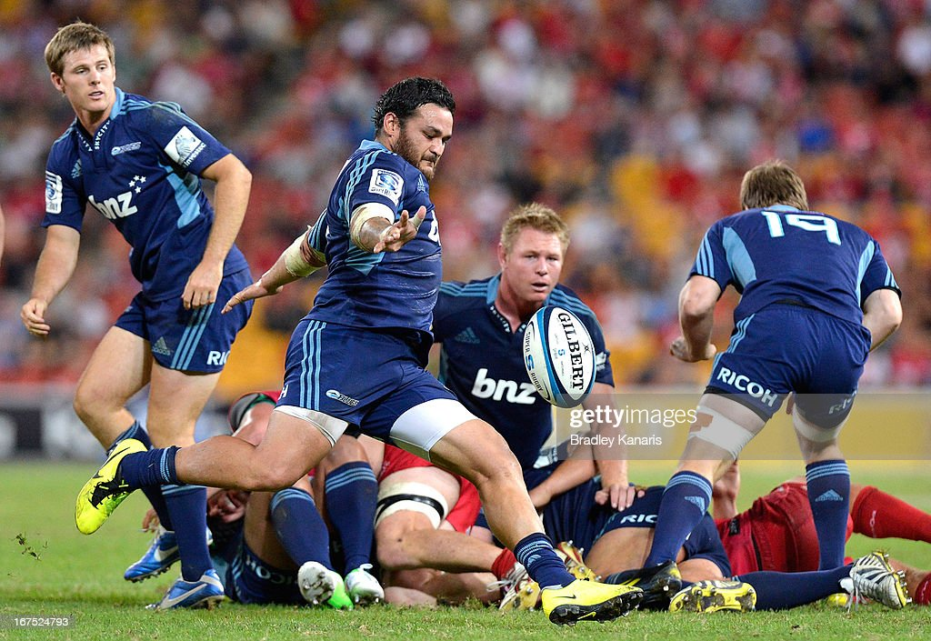 Piri Weepu of the Blues kicks the ball during the round 11 Super Rugby match between the Reds and the Blues at Suncorp Stadium on April 26, 2013 in Brisbane, Australia.