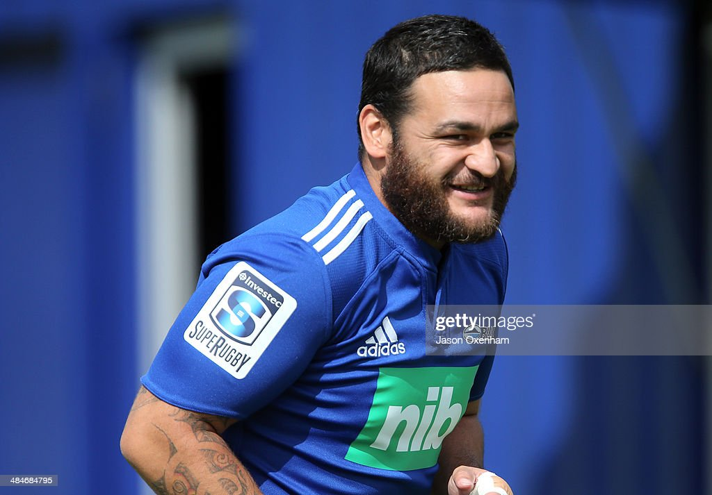 Piri Weepu of the Blues laughs being back after making a full recovery from his minor stroke and minor heart surgery at an Auckland Blues Super Rugby training session at Unitec on April 14, 2014 in Auckland, New Zealand.
