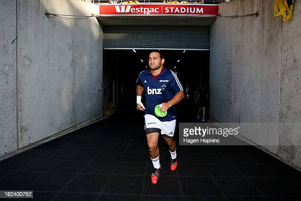 Piri Weepu of the Blues takes the field to warm up during the round two Super Rugby match between the Hurricanes and the Blues at Westpac Stadium on...