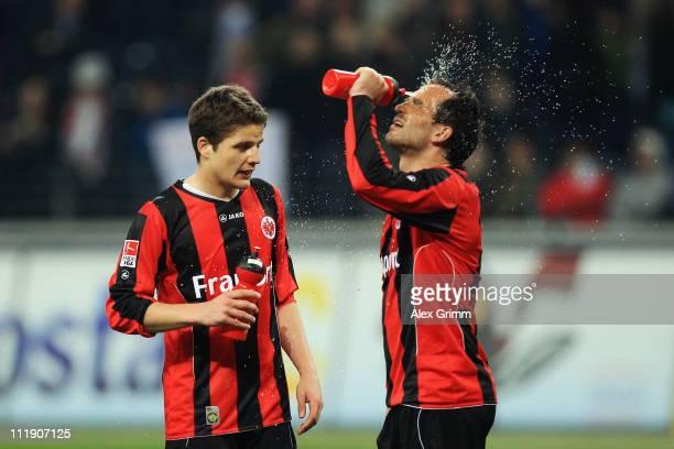 Pirmin Schwegler and Theofanis Gekas of Frankfurt react after the Bundesliga match between Eintracht Frankfurt and SV Werder Bremen at Commerzbank...