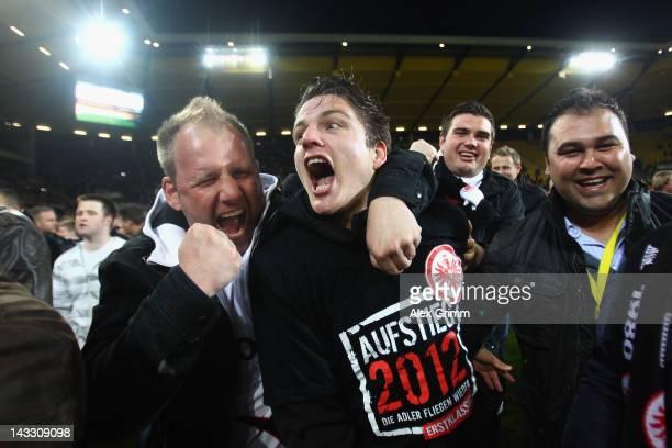 Pirmin Schwegler of Frankfurt celebrates with the fans after the Second Bundesliga match between Alemannia Aachen and Eintracht Frankfurt at Tivoli...
