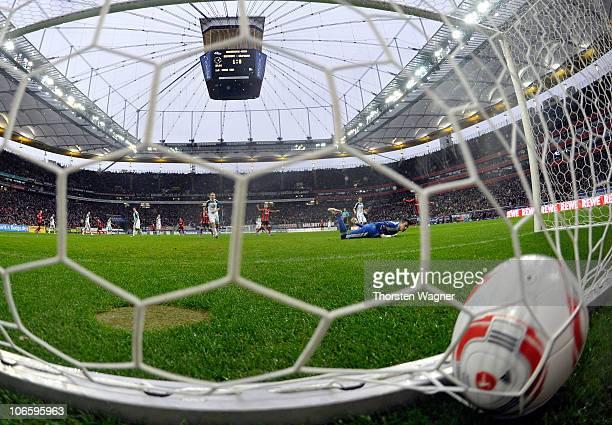 Pirmin Schwegler of Frankfurt scores his teams second goal during the Bundesliga match between Eintracht Frannkfurt and VFL Wolfsburg at Commerzbank...