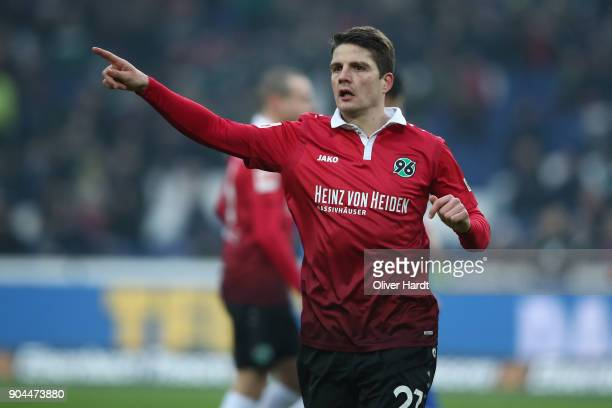 Pirmin Schwegler of Hannover gesticulated during the Bundesliga match between Hannover 96 and 1 FSV Mainz 05 at HDIArena on January 13 2018 in...