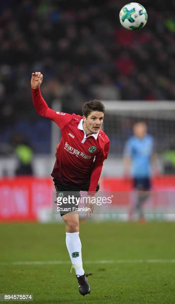 Pirmin Schwegler of Hannover in action during the Bundesliga match between Hannover 96 and Bayer 04 Leverkusen at HDIArena on December 17 2017 in...