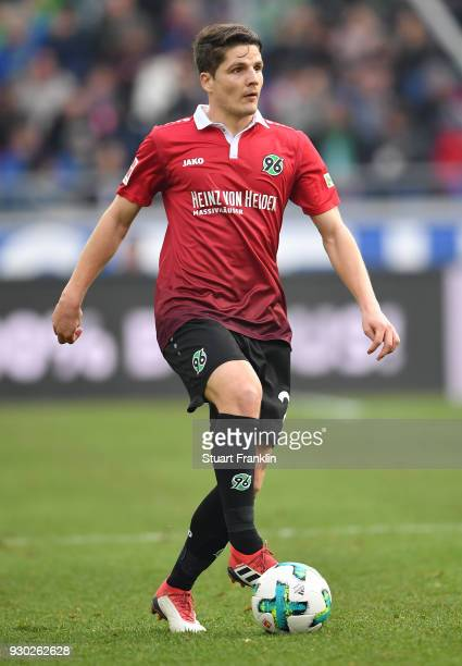 Pirmin Schwegler of Hannover in action during the Bundesliga match between Hannover 96 and FC Augsburg at HDIArena on March 10 2018 in Hanover Germany
