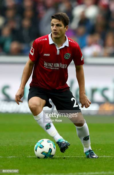 Pirmin Schwegler of Hannover runs with the ball during the Bundesliga match between Hannover 96 and 1 FC Koeln at HDIArena on September 24 2017 in...